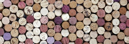 Panoramic shot of wine corks