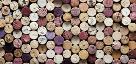 Panoramic close-up of wine corks