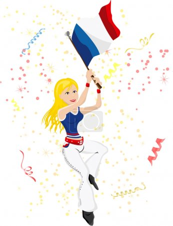 France Soccer Fan with flag.