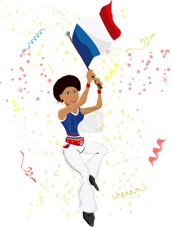 Black Girl France Soccer Fan with flag