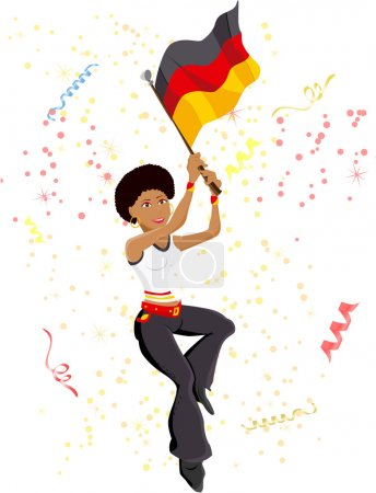 Black Girl Germany Soccer Fan with flag.