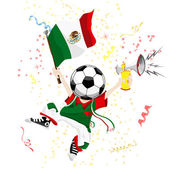 Mexico Soccer Fan with Ball Head Editable Vector Illustration