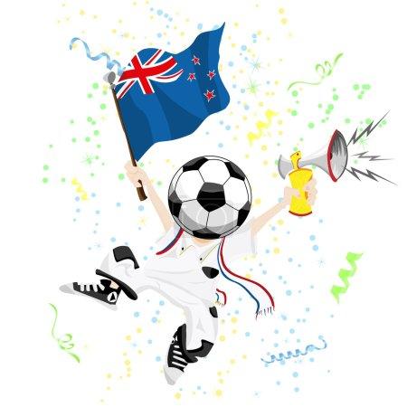 New Zealand Soccer Fan with Ball Head.