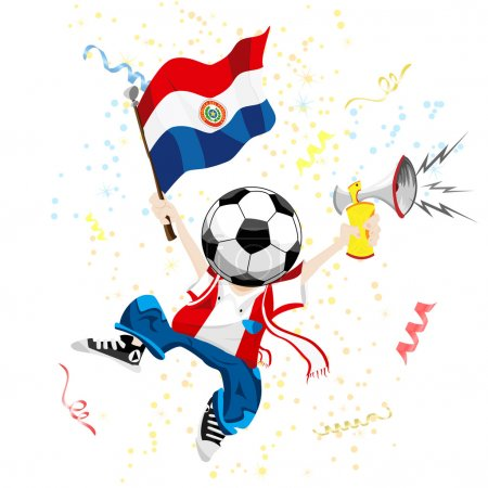 Paraguay Soccer Fan with Ball Head.