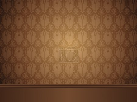 Illustration for Vector - Vintage Room with wood floor and seamless wallpaper. - Royalty Free Image