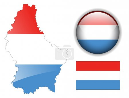 Luxembourg flag, map and glossy button.