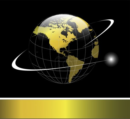 Logo earth globe gold