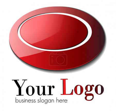 Illustration for Business logo, red glossy ellipses , vector. - Royalty Free Image