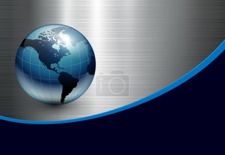Illustration for Abstract business background with blue earth world on silver metallic. - Royalty Free Image