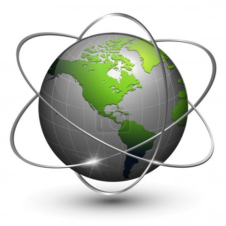 Earth globe with orbits