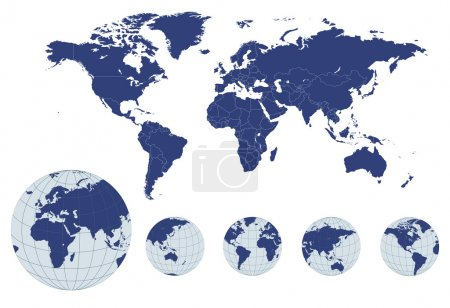 Photo for World map with earth globes, editable vector. - Royalty Free Image