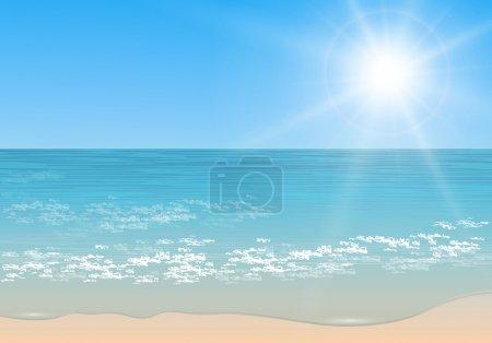 Illustration pour Plage et mer tropicale avec soleil, vecteur. - image libre de droit