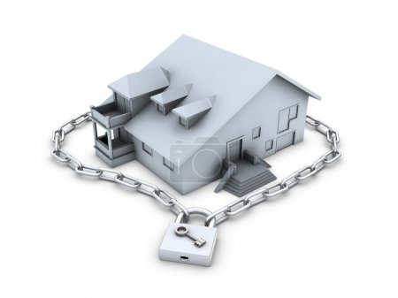 House, chain, closed padlock and key
