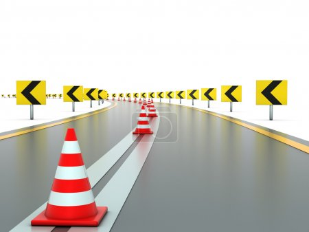 Photo for Road with signs on both sides left and traffic cones - Royalty Free Image