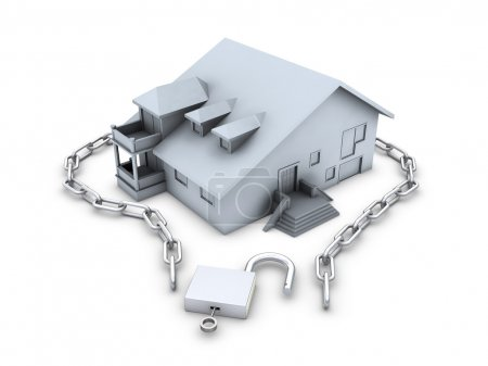 House, chain, opened padlock and key