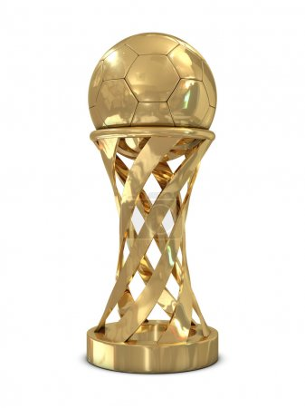 Golden soccer trophy