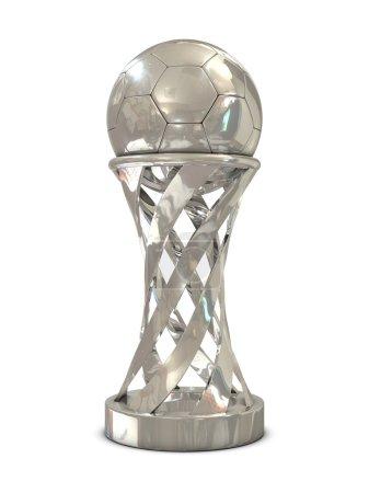 Silver soccer trophy