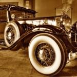 Vintage American car in a showroom...