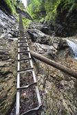 Ladder near mountain waterfall