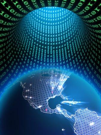 Photo pour Le globe terrestre dans un tunnel de données binaire. Illustration numérique . - image libre de droit