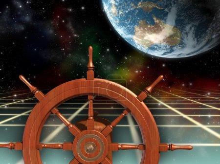 Photo pour Roue de navire, explorer de nouvelles frontières. Illustration numérique . - image libre de droit