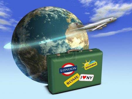 Foto de Viajes temático composición incluyendo la tierra, un equipaje y un avión. Ilustración digital. - Imagen libre de derechos