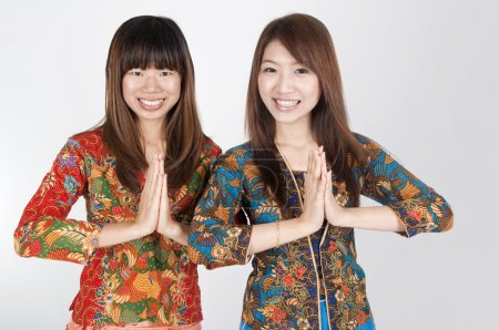 Photo for Thai muslim women in welcome gesture - Royalty Free Image