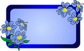 Decorative banner or label illustration with blue flowers