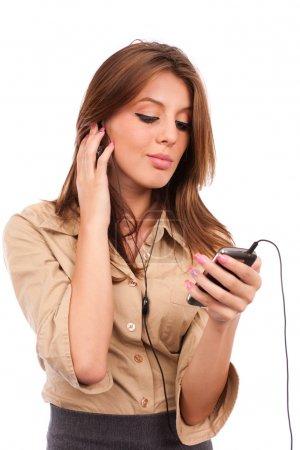 Pretty girl listening music
