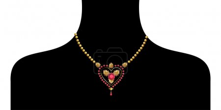 Female silhouette with golden neckless