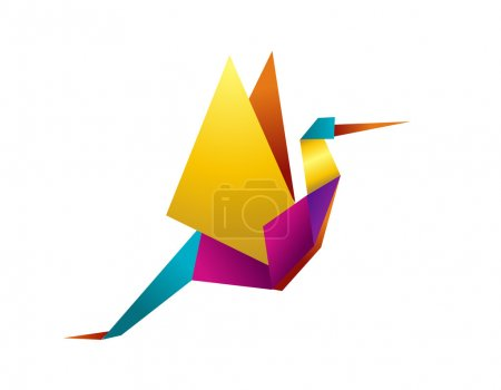 One Origami vibrant colors stork. Vector file avai...