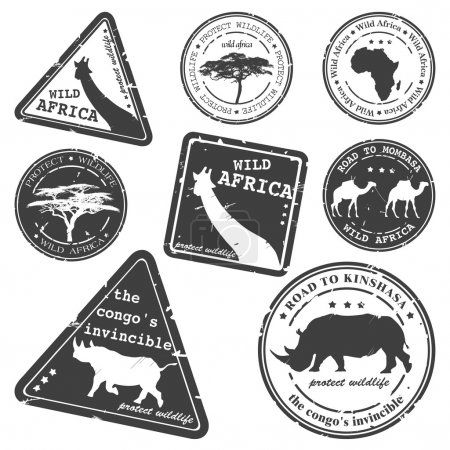 Stamp, wild africa, vector set