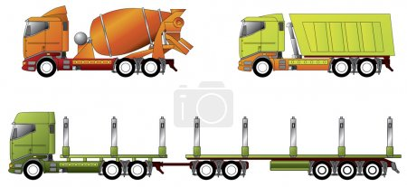 Illustration for Construction and timber truck - Royalty Free Image