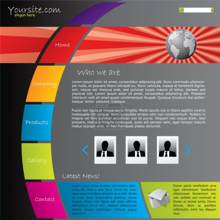 Colorful website template with bursting globe