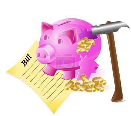 Photo pour Broken money-box est un billet de porc marteau et pièces d'or illustration - image libre de droit