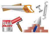 Vector illustration with different tools isolated on white background