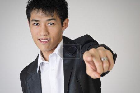 Man pointing