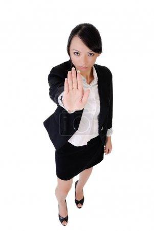 Photo pour Femme d'affaires disent non, portrait pleine longueur isolé sur fond blanc . - image libre de droit
