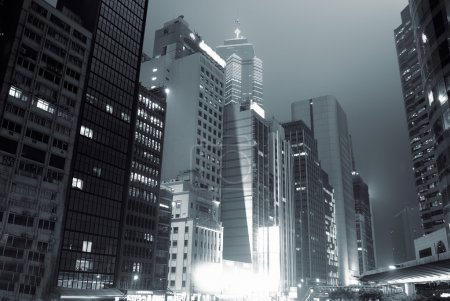 Photo for Beautiful night scenic of high buildings in Hong Kong. - Royalty Free Image