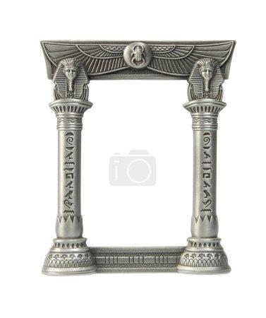 Photo pour PhotoFrame dans le style égyptien avec les hiéroglyphes, isolé sur le blanc - image libre de droit