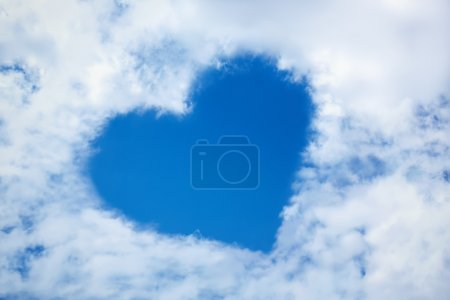 Photo for Heart from cloud in the blue sky - Royalty Free Image