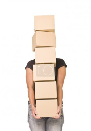 Photo for Woman carrying cardboard boxes isolated on white background - Royalty Free Image