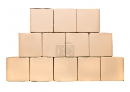 Photo for Stack of closed cardboard boxes isolated on white background - Royalty Free Image