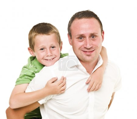 Photo for Happy Father and son isolated on white background - Royalty Free Image