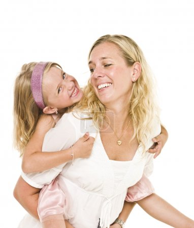 Photo for Portrait of happy mother and daughter isolated on white background - Royalty Free Image