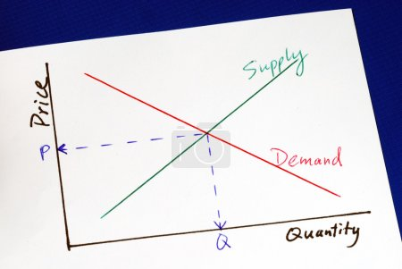 Photo for Supply and demand curves isolated on blue - Royalty Free Image