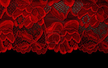 Photo for Red lace insulated on black background - Royalty Free Image