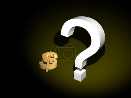 Photo pour Une vue d'un grand, en trois dimensions nous signe de dollar avec un point d'interrogation jaune à sa proche. - image libre de droit