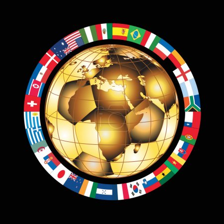 Gold football world cup ball, vector