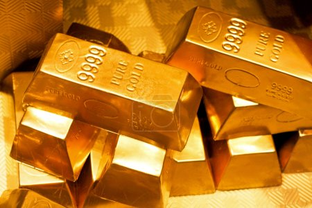 Photo for Close up shot of pure gold bars - Royalty Free Image